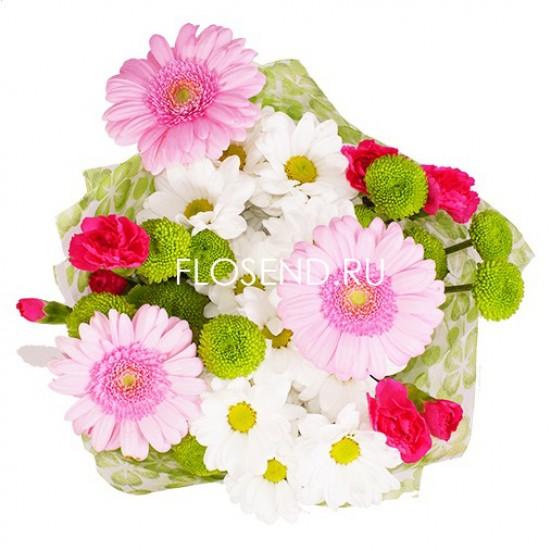 Букет на 1 сентября герберы и хризантемы