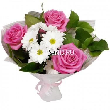 Букет из 3 роз и 2 хризантем